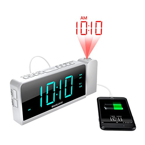 "Projection Alarm Clock with AM/FM Radio, 180°Projector, 7"" LED Digital Ceiling Display, Easy to Use, Clear White Digit, 3 Dimmer, Digital Alarm Clock with USB Phone Charger, Battery Backup for Bedroom"