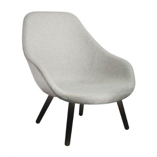 HAY About a Lounge Chair AAL92 Sessel, hellgrau Stoff Divina Melange 120 Gestell Eiche schwarz gebeizt 88x101x82cm