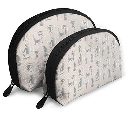 Bolsas portátiles con Mural Egipcio, Monedero, Bolsa de Almacenamiento de Viaje cosmético, 2 Piezas, Cartera, Estuche para Llaves, Bolso