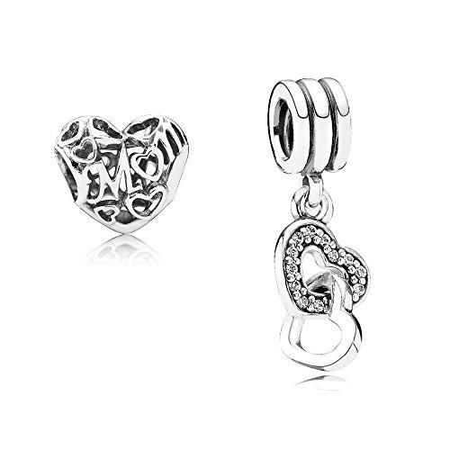 Pandora Set de regalo original – 1 colgante de plata 791242CZ con corazones entrelazados + 1 colgante de plata 791519 Loving Mom