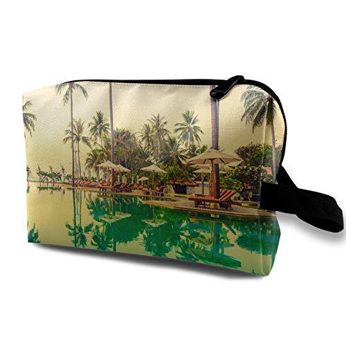 Bolsa de almacenamiento de lona de maquillaje de viaje, bolso de aseo portátil, pequeño organizador de cosméticos, bolsa de monedas para niñas, mujeres, hombres, piscina, baño de sol y árbol de coco