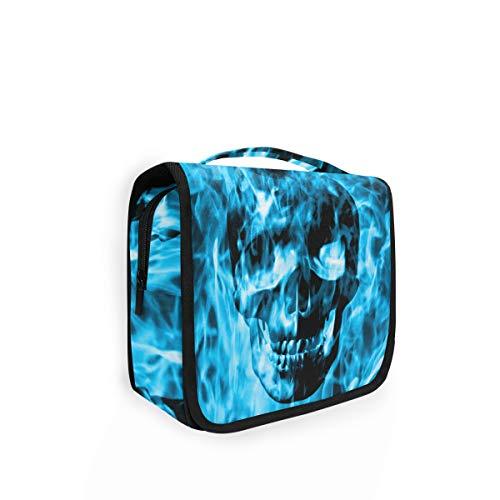 Preisvergleich Produktbild Rulyy Kulturtasche zum Aufhängen,  Motiv: Totenkopf,  Feuer,  Rauch,  Kosmetiktasche,  großes Fassungsvermögen,  Organizer für Reisen,  Make-up-Tasche für Mädchen und Damen