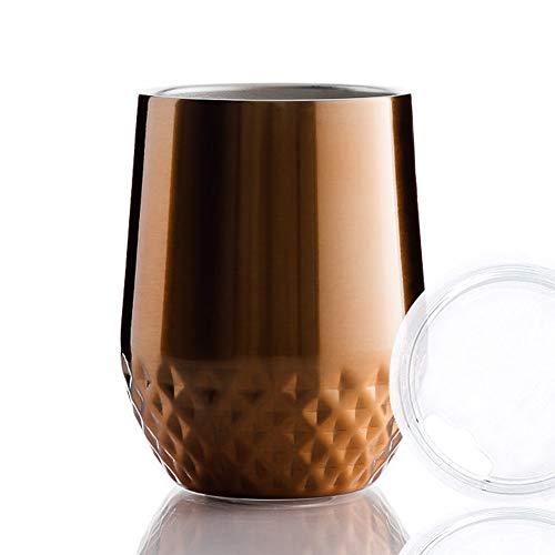 BOHORIA® Premium Quality Edelstahl Isolierbecher | Thermo-Becher | Doppelwandig & Vakuumisoliert – Leicht & Elegant (350ml) | Wein-Glas to go | Reisebecher mit Deckel für Kaffee, Tee (Bronze)