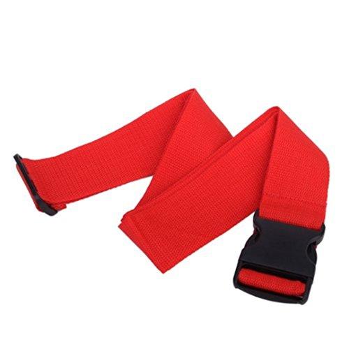 Roter Koffergurt 180 cm lang verstellbart mit Clipschloss (Rot 2 Stck)
