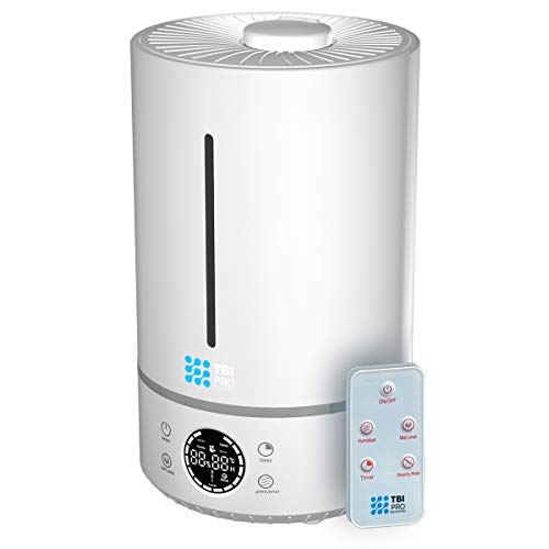 TBI Pro 6L Ultrasonic Humidifier with Top-Fill, 360° Nozzle for Home Large Room, Bedroom, Office, Travel, Babies - Easy to Clean Humidifiers Anti-Leak System, Auto Shut-Off, White
