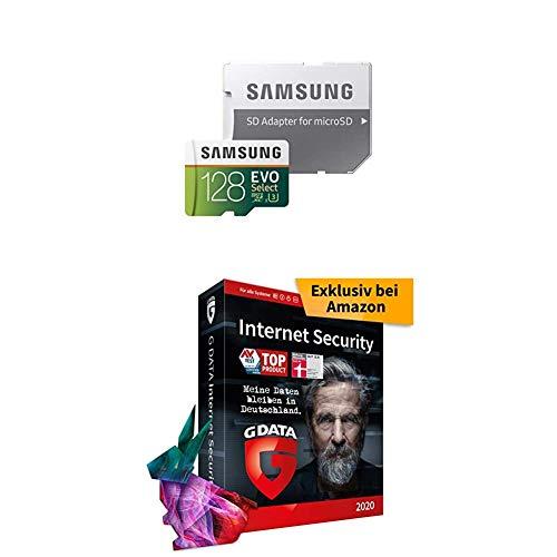 Samsung MB-ME128GA/EU EVO Select 128 GB microSDXC UHS-I U3 Speicherkarte inkl. SD-Adapter Weiß/Grun + G Data Internet Security 2020   3 Geräte - 1 Jahr, DVD-ROM inkl. Webcam-Cover