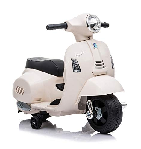 Motoor Kids Mini Moto DE BATERÍA Vespa Scooter, BATERÍA 6V (Blanco)