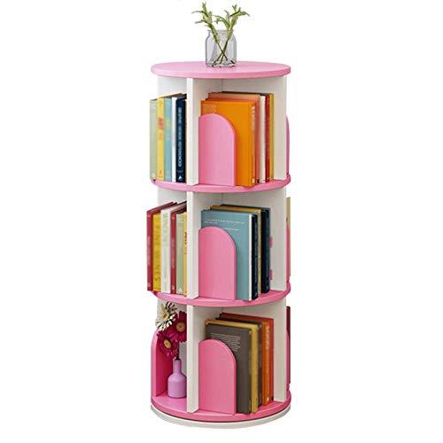 ZHJIUXING SF Bücherregal Rotierendes Chassis 3 Schichten Bodenstehendes Bücherregal Kleiner Platzbedarf Große Kapazität Multifunktions-Bücherregal,bücherturm freistehend, Pink -a, 46X46X96cm