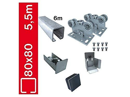 Bodenführung-Set 80x80mm Bausatz Laufwerk freitragend, für Schiebetor L 5,5m