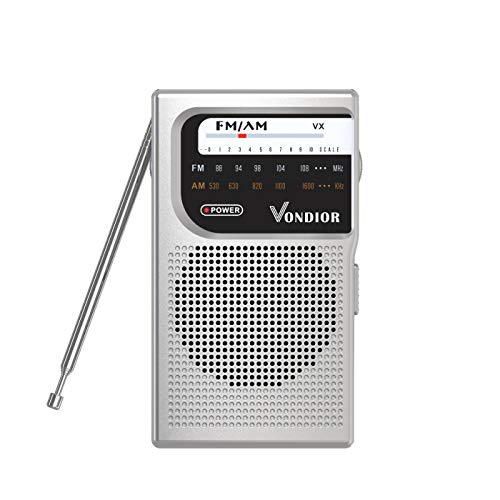 AM FM Battery Operated Portable Pocket Radio - Best Reception and Longest Lasting. AM FM Compact Transistor Radios Player Operated by 2 AA Battery, Mono Headphone Socket, by Vondior (Silver)