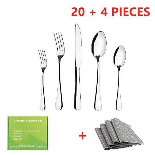 SidiOutil 20 Pack Besteck Set + 4 Pack Tischset, Party Besteckset für 4 Personen, Umweltfreundliches, Wiederverwendbares Edelstahlbesteckset Metallbesteck Messer Gabel Löffel Set (Silber)