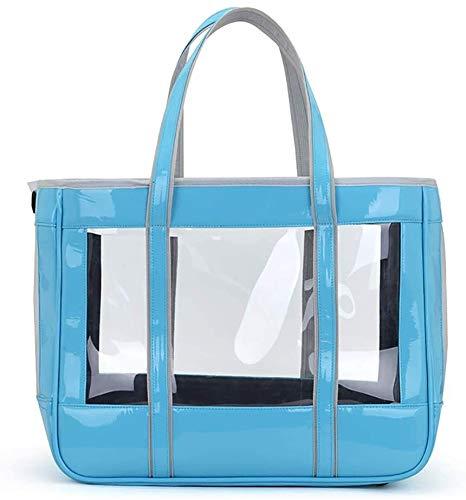 Pet Carrier Transparent Welpen Reiseraum-Handbreathable Ineinander greifen Schultertasche Katze Tasche Ausgang Haustier Tasche Transparent eine Schulter Pet Bag Pet Supplies Jialele ( Color : Blue )