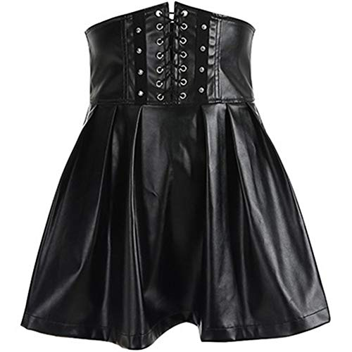 ERLIZHINIAN Mode Einstellbarer Hoch Bauchgurt PU Faltenrock weiblichen 2018 Neuer sexy Reißverschluss am Rücken Leder-Minirock (Color : Black Skirt, Size : S)