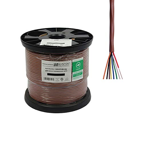 20/8 Solid, HVAC-Thermostat Cable, UL/ETL CL3R/CMR/FT4, 20AWG 8 Pure Copper Conductors, Indoor/Outdoor UV Resistant RoHS Brown 250ft Spool