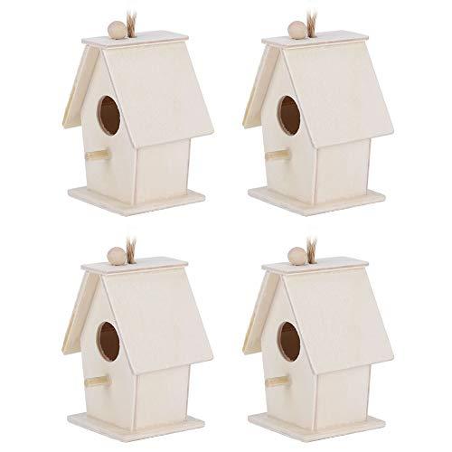 HERCHR Casas para pájaros para Exterior, 4 comederos para pájaros para decoración de jardín Colgante al Aire Libre
