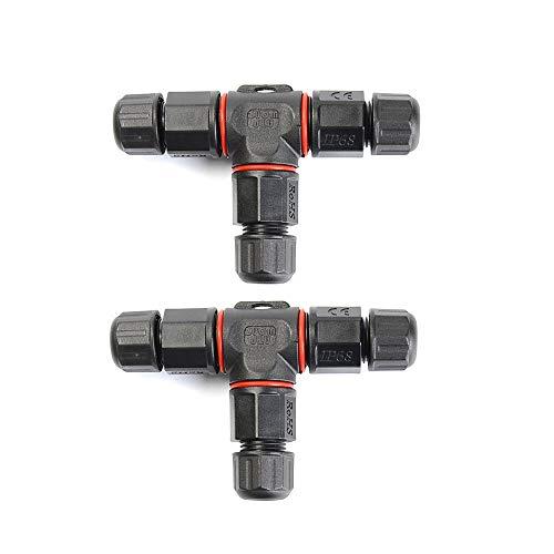 2er Kabel-Verbindungsbox Kabelverbinder IP68 T-Form Verbindungsmuffe für Kabeldurchmesser 5-10.5 mm 3-polig
