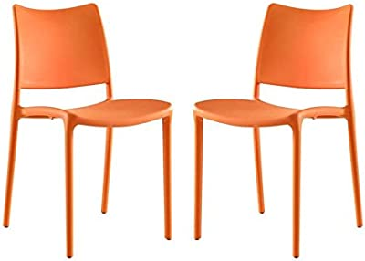 Hawthorne Collections Dining Side Chair in Orange (Set of 2)