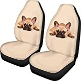 ZFRXIGN French Bulldog Car Cover for Front Seat Machine Washable SUV Trunk Interior Accessories Non-Slip Car Seat Protector Waterproof Beige