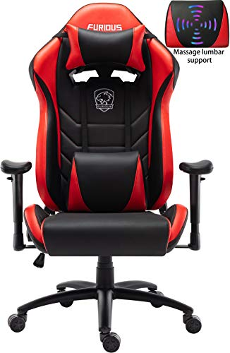 Gaming Chair Racing Style Swivel Computer Gamer Chair with Fully Foam, Esports Video Game Chair, PU Leather Executive Office Chair with Lift Headrest and Lumbar Support Red chair gaming