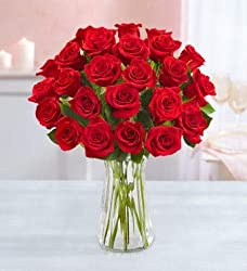 Valentine's day gifts: Two dozen red roses in a clear vase