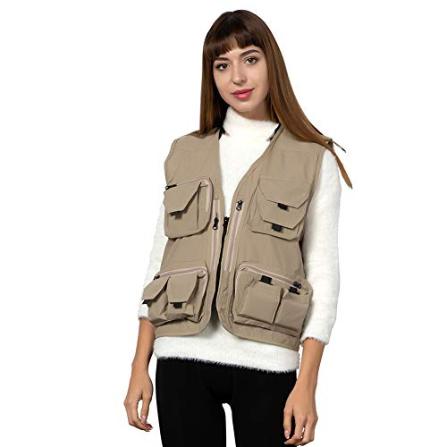 Ziker Women's Mesh Breathable Openwork Jouralist Photographer Fishing Vest Waistcoat Travel Jacket Coat with Pockets (Khaki, Large)