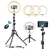 Selfie Ring Light with Tripod Stand, GPED 10.2' Dimmable LED Makeup Beauty Ringlight with Phone Holder for iPhone/Android/YouTube Video/Live Stream/Photography, 3 Light Modes & 10 Brightness Level