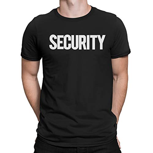 NYC FACTORY Security T-Shirt Front Back Print Mens Tee Staff Event Uniform Bouncer Screen Printed (Black-White, Small)