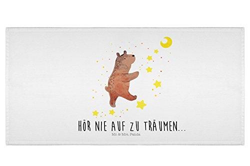 Mr. & Mrs. Panda Baby, Badezimmer, 50 x 100 Handtuch Bär Träume mit Spruch - Farbe Weiß
