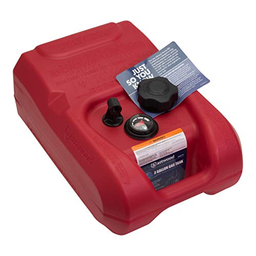 attwood 8803LPG2S EPA and CARB Certified Portable Boat Gas Tank with Gauge, 3 Gallon Capacity , Red
