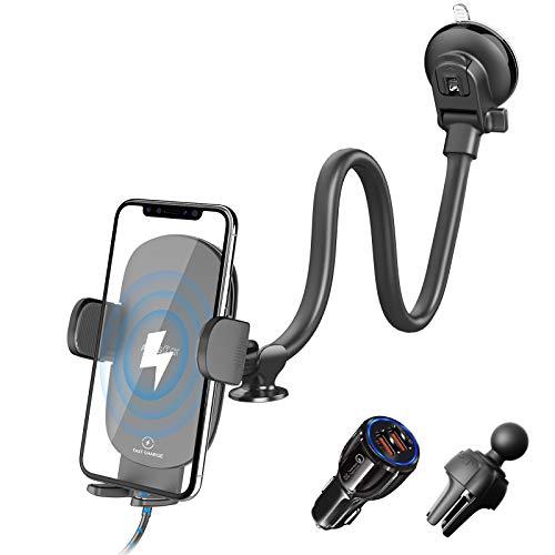 Kabelloses Kfz-Ladegerät, 33 cm (13 Zoll), Schwanenhals, Qi Schnellladegerät, QC 3.0 Kfz-Ladegerät für Lüftungsschlitze, Windschutzscheibe, 10 W, kompatibel mit iPhone 11 Pro Max, Samsung S10 und mehr