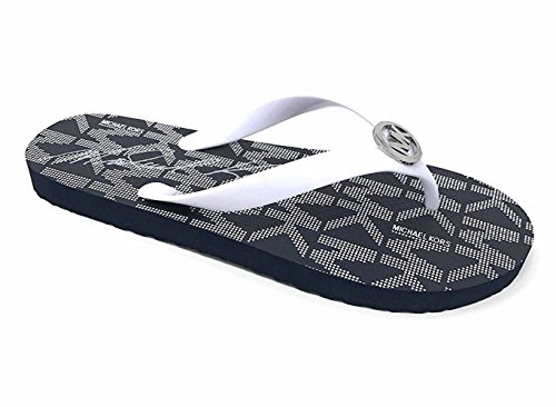 Michael Kors Jet Set PVC Logo Women's Flip Flops, Optic White (10M)