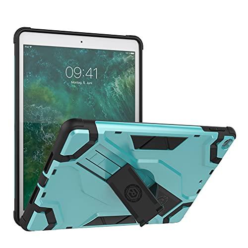 SENSBUN Funda de tablet para iPad (9.7'') (2017) (5ª generación), resistente armadura suave TPU y cubierta de PC dura con correa de mano antideslizante y soporte a prueba de golpes, verde claro