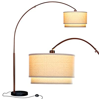 Brightech Mason LED Arc Floor Lamp- Modern Standing Light for Living Rooms with Hanging Shade & Marble Base- Tall Pole Standing Uplight with Ambient Lighting for Office Or Bedroom