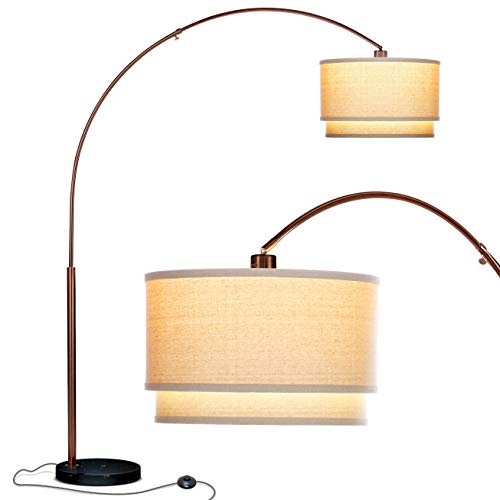 Brightech Mason - Arc Floor Lamp with Unique Hanging Drum Shade for Living Room Matches Your Decor - Arching Over The Couch from Behind, This Standing Pole Light Gets Compliments - Bronze