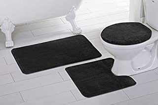 3pc Solid Black Non Slip Bath Rug Set for Bathroom U-Shaped Contour Rug, Mat and Toilet Lid Cover New