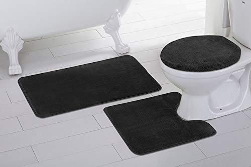 Fancy Linen 3pc Non-Slip Bath Mat Set Solid Black Bathroom U-Shaped Contour Rug, Mat and Toilet Lid Cover New #Angela