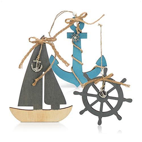 com-four® 3X Hängedeko mit Boot, Steuerrad und Anker aus Holz - Schifffahrt Deko zum Aufhängen - Maritime Hängedeko für zu Hause (03 Stück - Hängedeko 15cm)