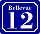 Hausnummernschild aus Aluminium Verbundplatte mit Vorbohrungen und abgerundeten Ecken Wunschtext (20x17cm, blau)