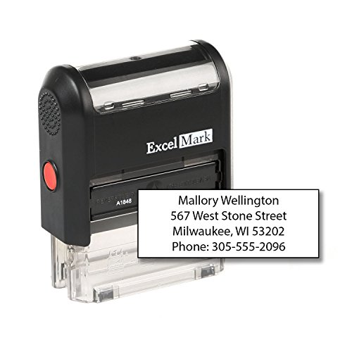 ExcelMark Custom Self Inking Rubber Stamp - Home or Office (A1848-4 Lines)