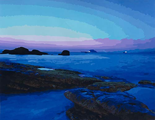 YXQSED Frameless Diy Oil Painting Paint By Number- Blue bay island 16x20 Inch