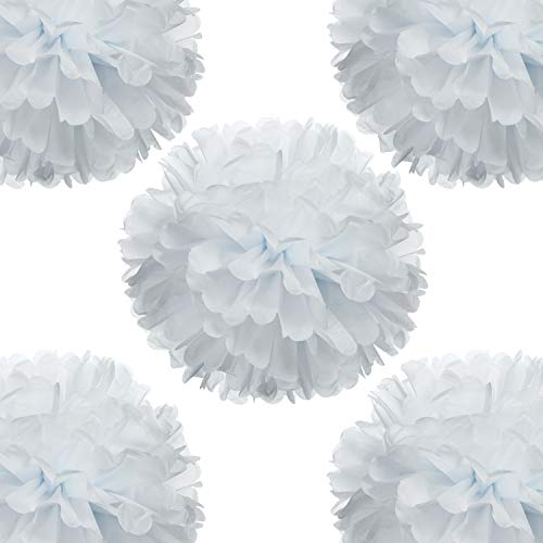14' White Tissue Pom Poms DIY Decorative Paper Flowers Ball for Birthday Party Wedding Baby Shower Home Outdoor Hanging Decorations, Pack of 10