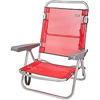 Aktive 53970 Silla plegable multiposición aluminio Beach, 108 x 60 x 78 cm Rojo