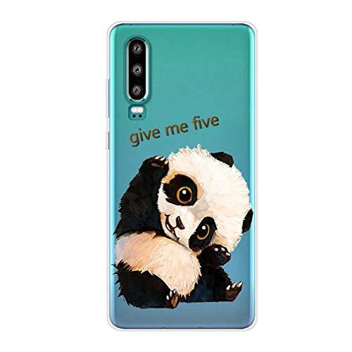 Karomenic Silikon Hülle kompatibel mit Huawei P30 Lite Kreative Cartoon Transparent Handyhülle Durchsichtig Schutzhülle Crystal Clear Weiche Soft TPU Tasche Bumper Case Etui,Panda