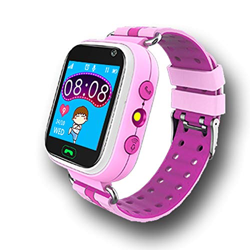 Kinderuhr Digital Smart Watch Kinder LPS Ortung Telefon Smartwatch Mit Spiele Kinder Handy Kinderuhr Anruf Funktion Schrittzähler Kinder Telefon Wasserdicht (Q9 LPS Pink)