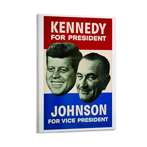 KDIU John F Kennedy Lyndon Johnson (1960) Vintage Campaña Vintage Retro Póster Decorativo Cuadro Cuadro Cuadro Cuadro Arte de Pared Pósteres para Dormitorio Hogar 50 x 75 cm