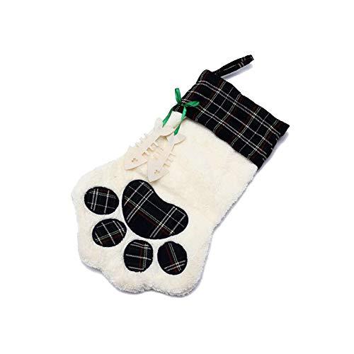 Meiosuns - Calcetines navideños con diseño de Huellas de Mascota, para Colgar en la Chimenea, Bolsas de Regalo de Navidad para decoración de árbol de Navidad, tamaño Grande,...