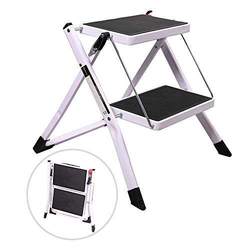 Varbucamp 2 Step Small Ladder Step Stool for Closet, Portable Folding Mini Ladder with Wider Pedal and Sturdy Iron Frame, White