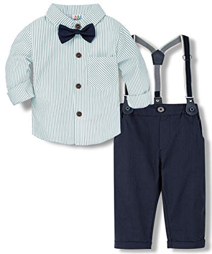 A&J DESIGN Kleinkind Junge Gentleman Anzug Baumwolle Shirt mit Hose, Hosenträger und abnehmbare Krawatte, Kinder Outfits Set für Hochzeit Geburtstagsparty Fotoshooting(Mintgrün, 2-3 Jahre)
