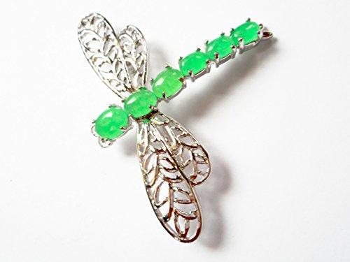 Dragonfly green jade silver brooch pin