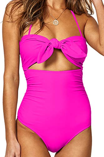 BOOSOULY Oversized Bathing Suit for Women One Piece Beandeau High Waist Outfits Swimsuit Rose Red XL